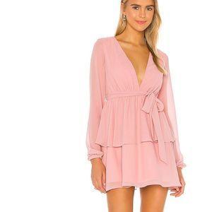 MAJORELLE Berkshire ChiffonTiered Mini Dress Blush